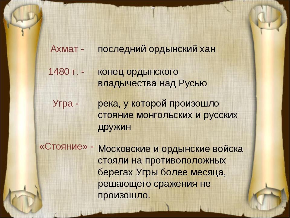 Ахмат - Угра - 1480 г. - «Стояние» - последний ордынский хан река, у которой...