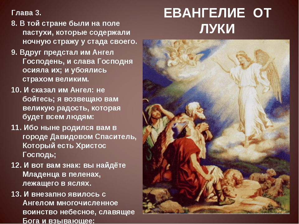 ЕВАНГЕЛИЕ ОТ ЛУКИ Глава 3. 8. В той стране были на поле пастухи, которые соде...