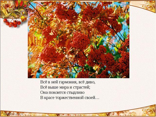 Всё в ней гармония, всё диво, Всё выше мира и страстей; Она покоится стыдливо...