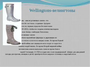 Wellingtons-велингтоны  Веллингтоны - они же резиновые сапоги –это сапоги
