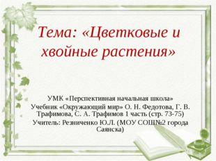 Тема: «Цветковые и хвойные растения» УМК «Перспективная начальная школа» Учеб