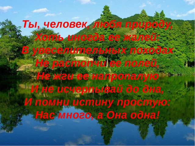 Ты, человек, любя природу, Хоть иногда ее жалей: В увеселительных походах Не...