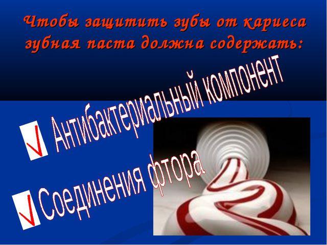 Чтобы защитить зубы от кариеса зубная паста должна содержать: