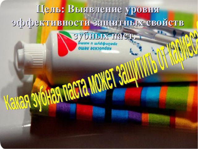 Цель: Выявление уровня эффективности защитных свойств зубных паст.