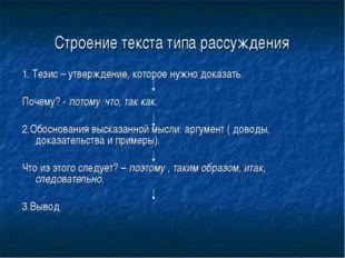 Строение текста типа рассуждения 1. Тезис – утверждение, которое нужно доказ