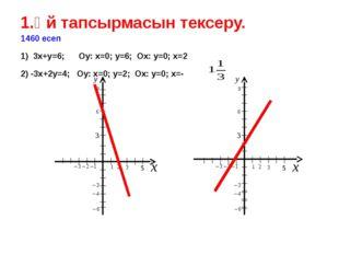 1.Үй тапсырмасын тексеру. 1460 есеп 1) 3х+у=6; Оу: х=0; у=6; Ох: у=0; х=2 2)