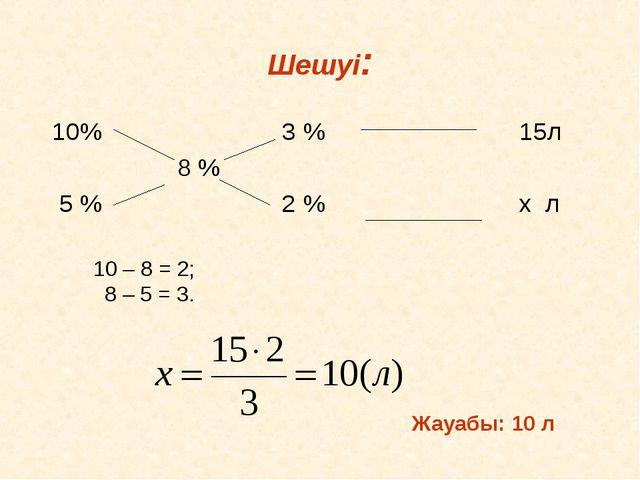 Шешуі: 10% 3 % 15л 8 % 5 % 2 % х л 10 – 8 = 2; 8 – 5 = 3. Жауабы: 10 л