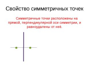 Свойство симметричных точек Симметричные точки расположены на прямой, перпен