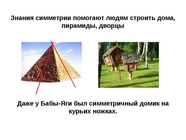 Знания симметрии помогают людям строить дома, пирамиды, дворцы Даже у Бабы-Яг...