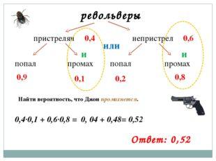 револьверы пристрелян непристрел попал попал промах промах 0,6 0,4 0,9 0,1 0,