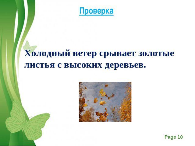 Проверка Холодный ветер срывает золотые листья с высоких деревьев. Free Power...