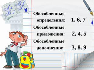 Обособленные определения: 1, 6, 7 Обособленные приложения: 2, 4, 5 Обособлен
