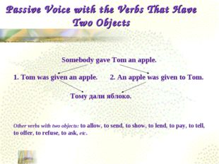 Passive Voice with the Verbs That Have Two Objects Somebody gave Tom an apple