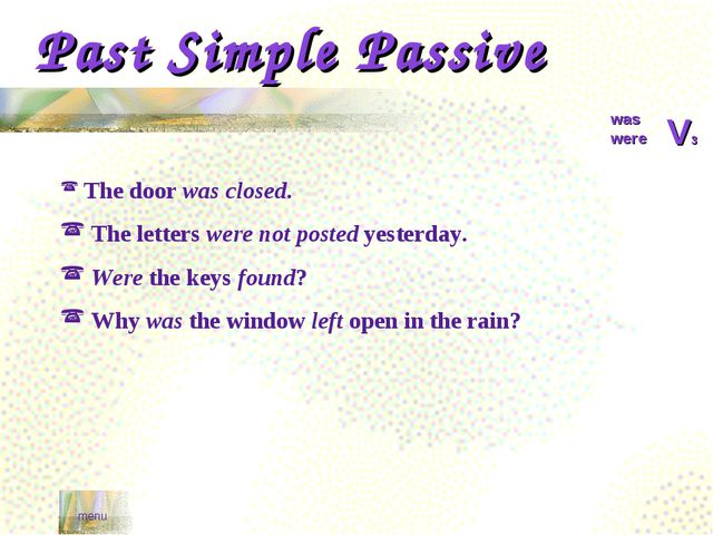 Past Simple Passive menu was were V3 The door was closed. The letters were no...