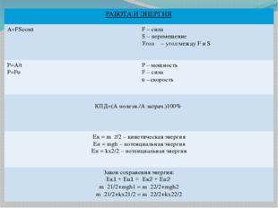 РАБОТА И ЭНЕРГИЯ A=FScosα F –сила S –перемещение Уголα– угол междуFиS P=A/t P