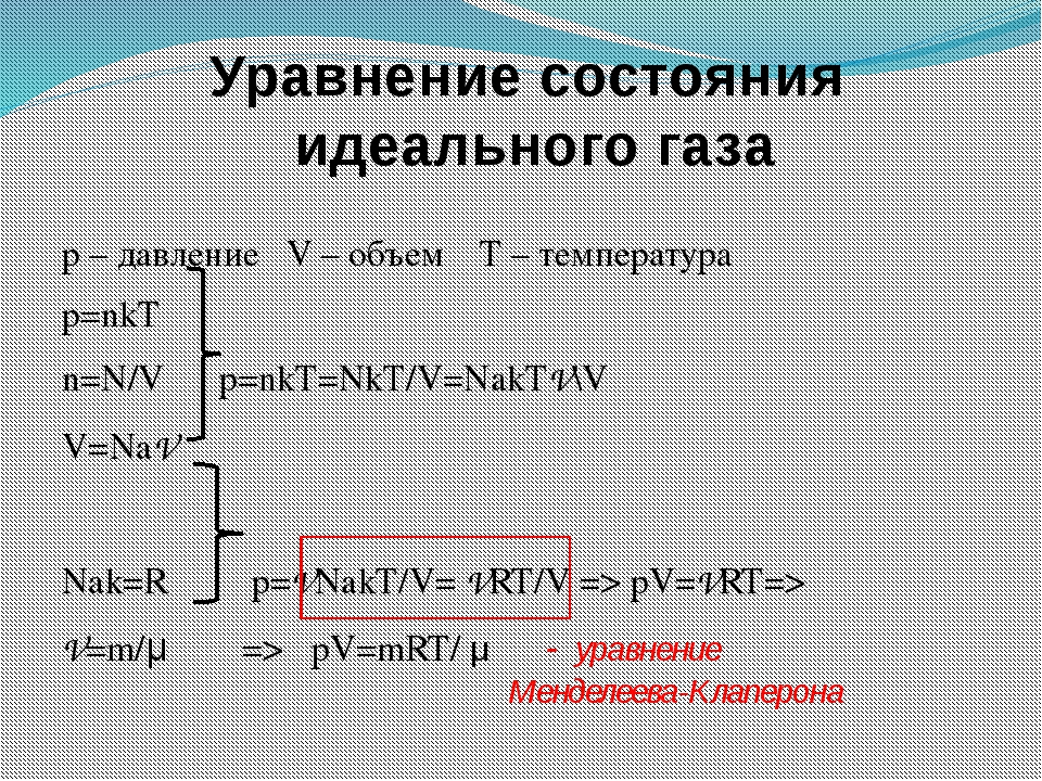 p – давление V – объем T – температура p=nkT n=N/V p=nkT=NkT/V=NakTV\V V=NаV...