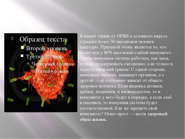 В нашей стране от ОРВИ и сезонного вируса страдает более 30 миллионов челове...