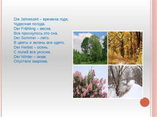 Die Jahreszeit – времена года, Чудесная погода. Der Frühling – весна. Все пр