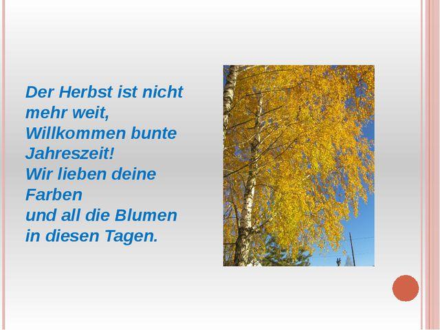 Der Herbst ist nicht mehr weit, Willkommen bunte Jahreszeit! Wir lieben dein...