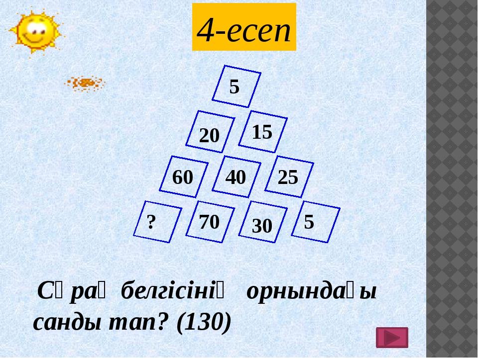 Сұрақ белгісінің орнындағы санды тап? (130) 5 20 15 40 25 5 30 70 60 ? 4-есеп