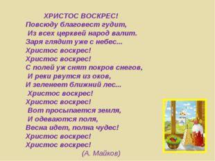 ХРИСТОС ВОСКРЕС! Повсюду благовест гудит, Из всех церквей народ валит. Заря
