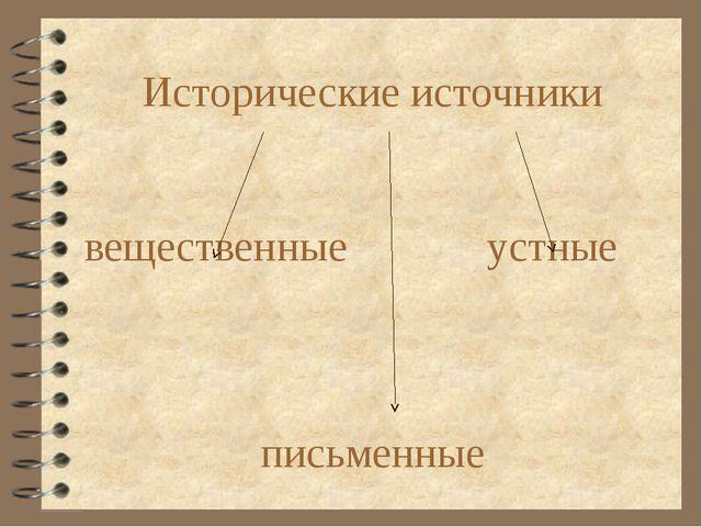 Исторические источники вещественные устные письменные