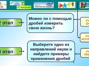 2 этап 3 этап Можно ли с помощью дробей измерить свою жизнь? Выберите одно и