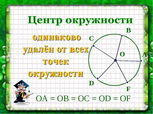 О A B С D F ОA = ОВ = ОC = ОD = ОF
