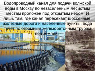 Водопроводный канал для подачи волжской воды в Москву по незаселенным лесисты