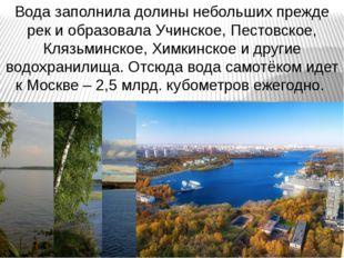 Вода заполнила долины небольших прежде рек и образовала Учинское, Пестовское,