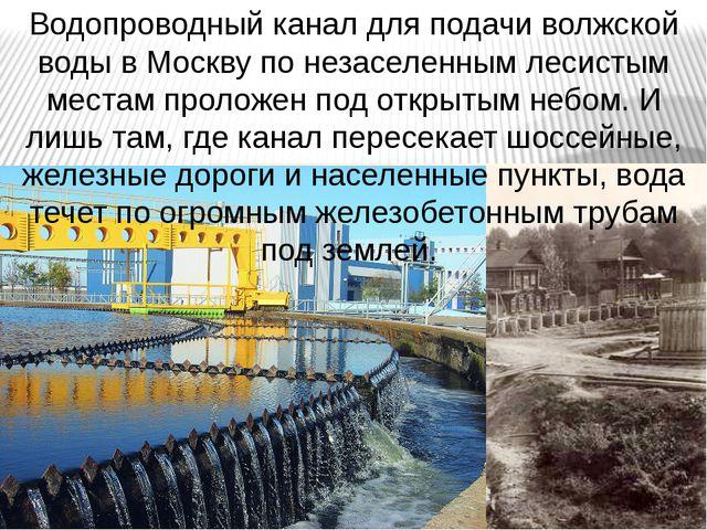 Водопроводный канал для подачи волжской воды в Москву по незаселенным лесисты...