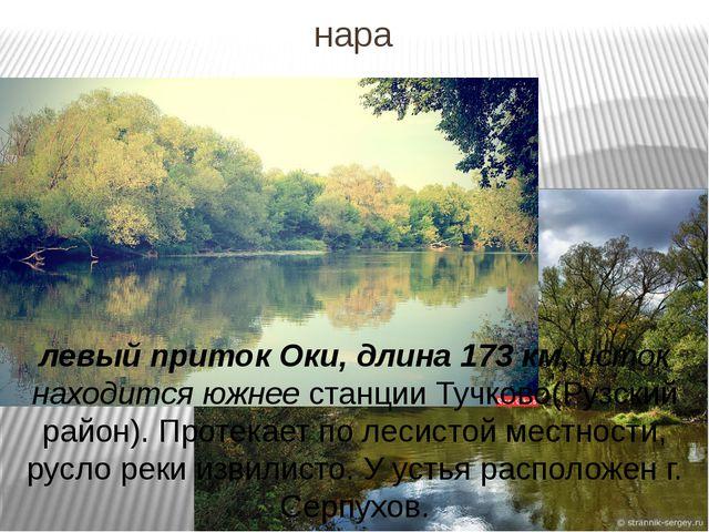 нара левый приток Оки, длина 173 км, исток находится южнее станции Тучково(Ру...