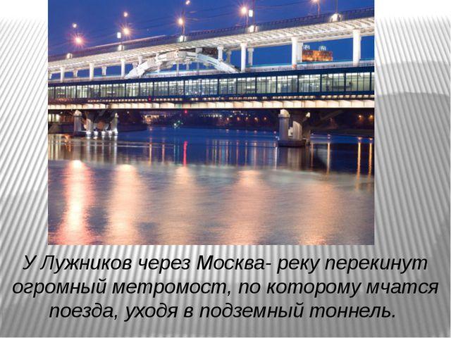 У Лужников через Москва- реку перекинут огромный метромост, по которому мчатс...