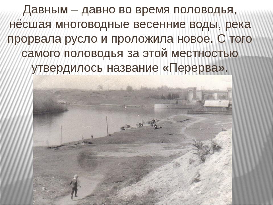 Давным – давно во время половодья, нёсшая многоводные весенние воды, река про...