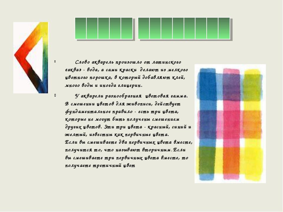 Слово акварель произошло от латинского «аква» - вода, а сами краски делают и...