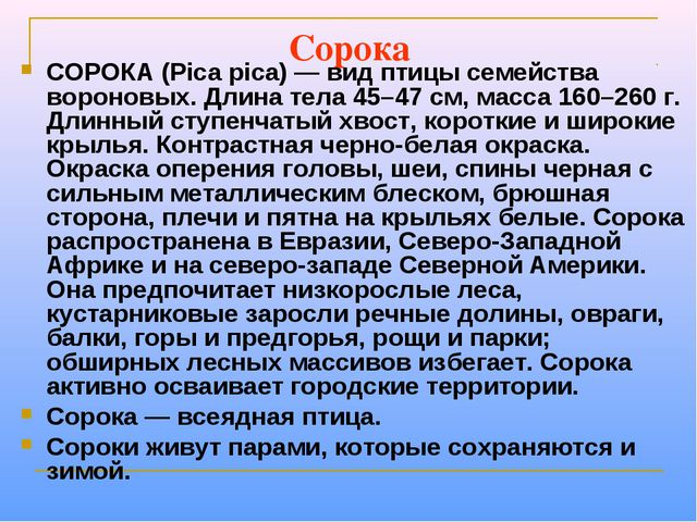 Сорока СОРОКА (Pica pica) — вид птицы семейства вороновых. Длина тела 45–47 с...