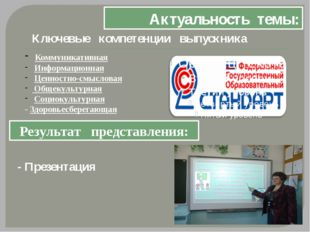 Актуальность темы: Ключевые компетенции выпускника Коммуникативная Информацио