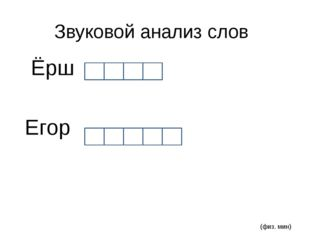 Звуковой анализ слов Ёрш Егор (физ. мин)