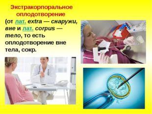 Экстракорпоральное оплодотворение (отлат.extra — снаружи, внеилат.corpu