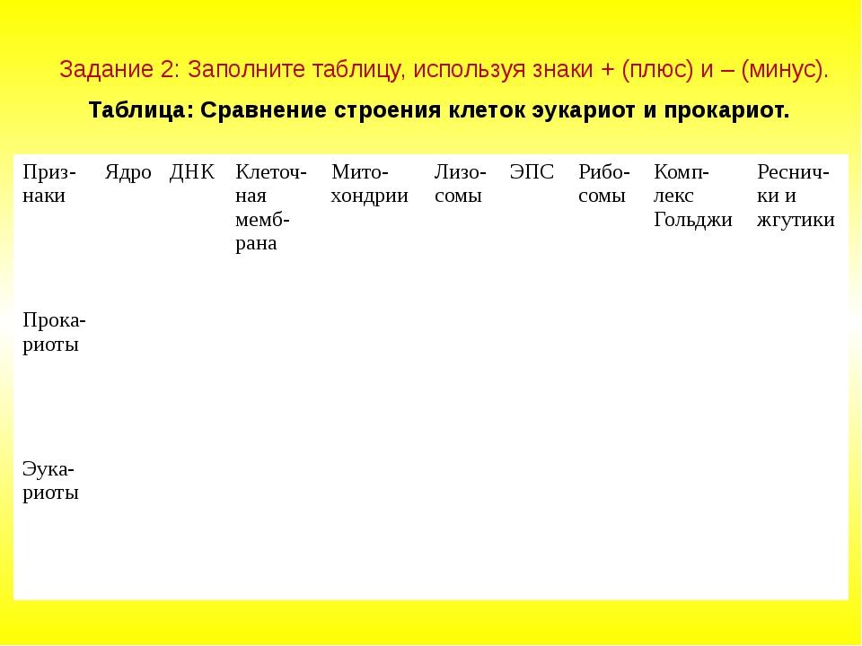 Задание 2: Заполните таблицу, используя знаки + (плюс) и – (минус). Таблица:...