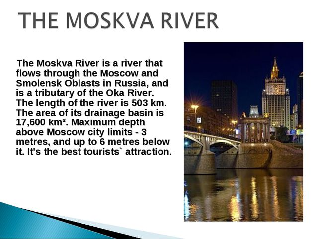 The Moskva River is a river that flows through the Moscow and Smolensk Oblas...