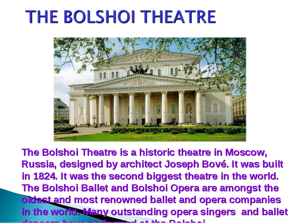 The Bolshoi Theatre is a historic theatre in Moscow, Russia, designed by arch...