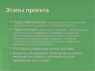 Этапы проекта Подготовительный ( организация работы в группах , проведение ан