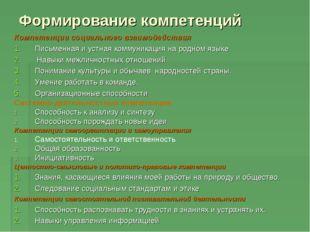 Формирование компетенций Компетенции социального взаимодействия Письменная и