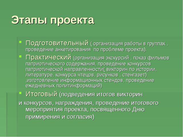 Этапы проекта Подготовительный ( организация работы в группах , проведение ан...