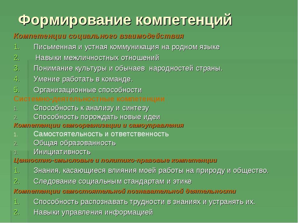 Формирование компетенций Компетенции социального взаимодействия Письменная и...