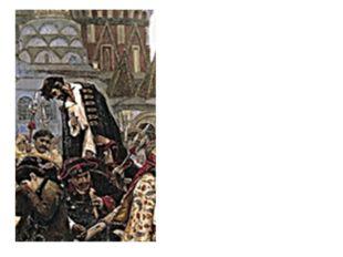 В центре картины - стрелец, стоящий на телеге. Он прощается с народом, низко