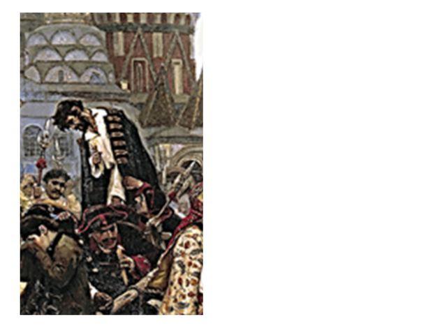 В центре картины - стрелец, стоящий на телеге. Он прощается с народом, низко...