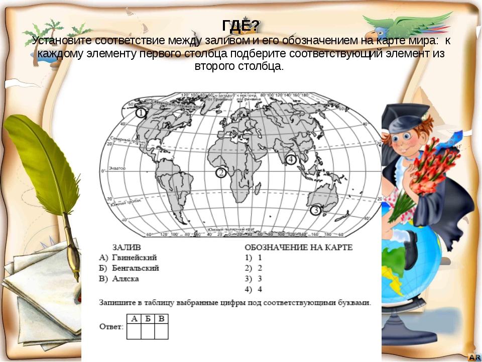 ГДЕ? Установите соответствие между заливом и его обозначением на карте мира:...