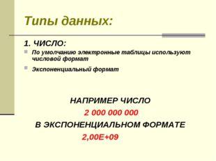 Типы данных: 1. ЧИСЛО: По умолчанию электронные таблицы используют числовой ф